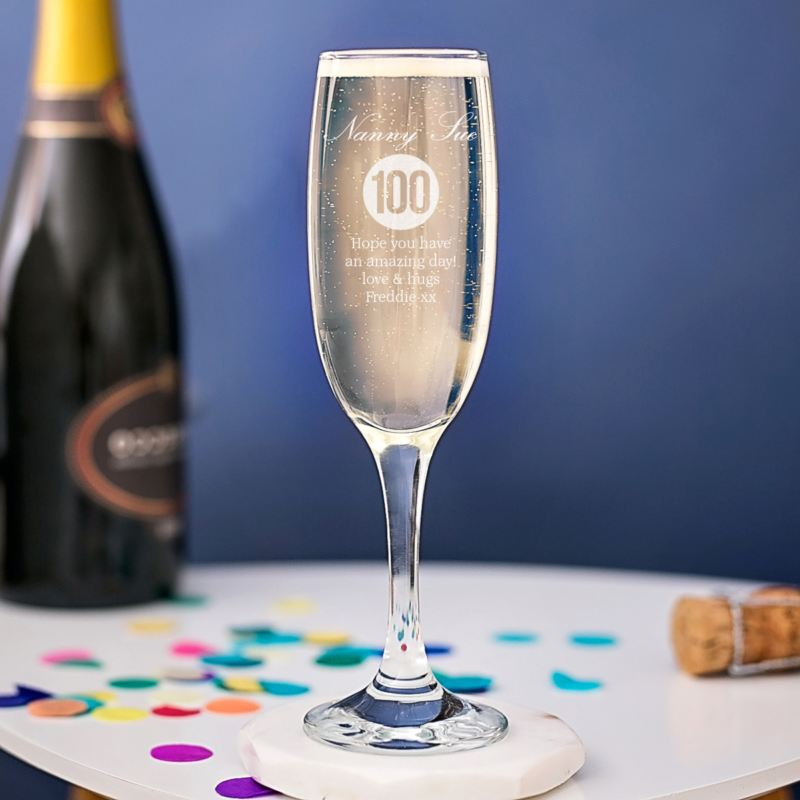 Personalised 100th Birthday Champagne Flute product image