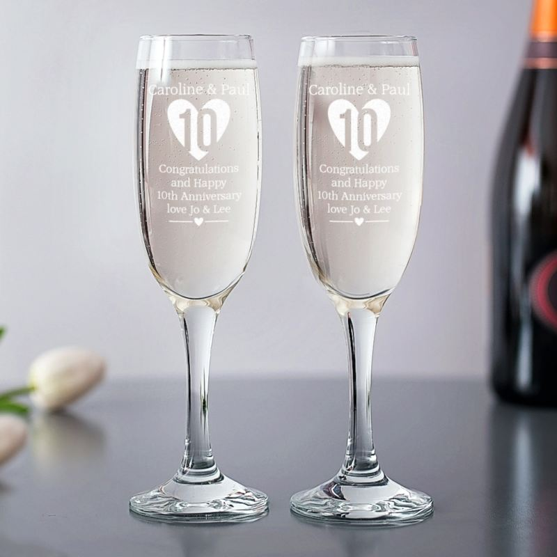 Personalised 10th Anniversary Champagne Flutes product image