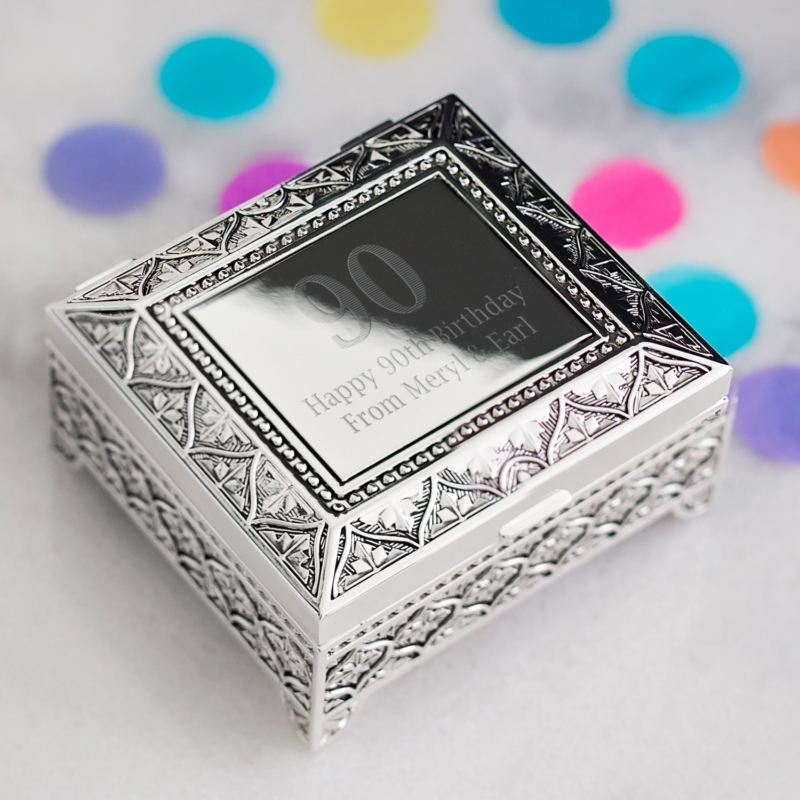 90th Birthday Engraved Trinket Box product image