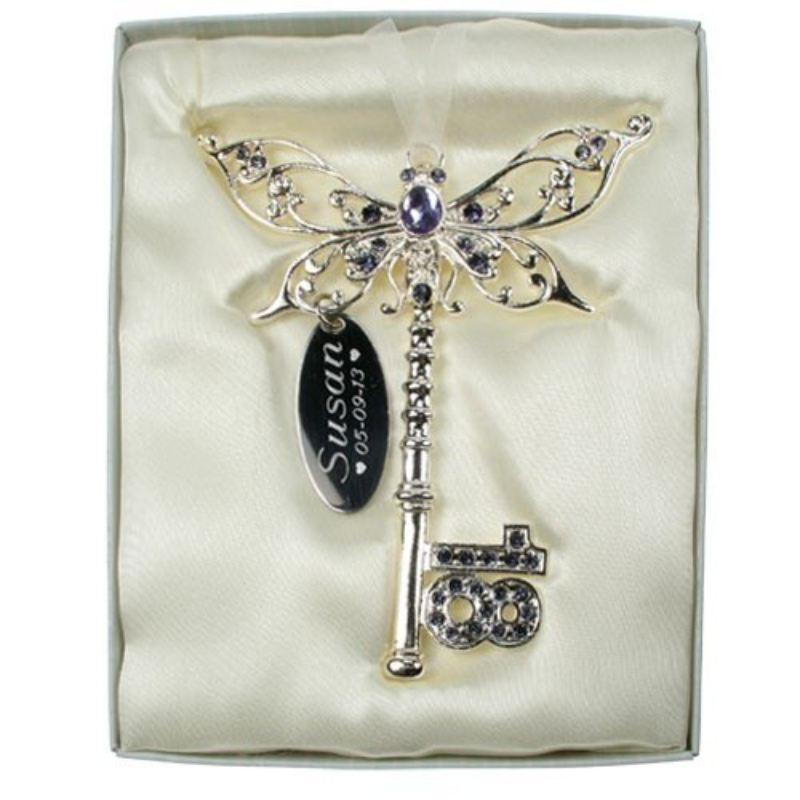 Personalised 18th Birthday Butterfly Key- Lilac product image