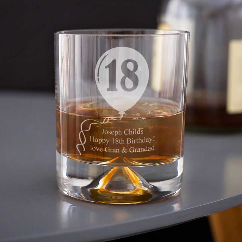 18th Birthday Celebratory Personalised Whisky Glass product image
