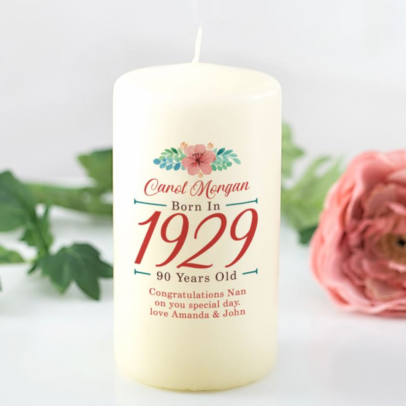 90th Birthday Personalised Candle - Floral Design product image