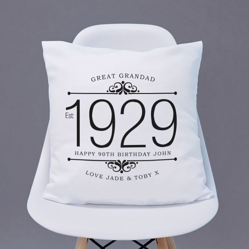 Personalised 90th Birthday Cushion - Monochrome Design product image