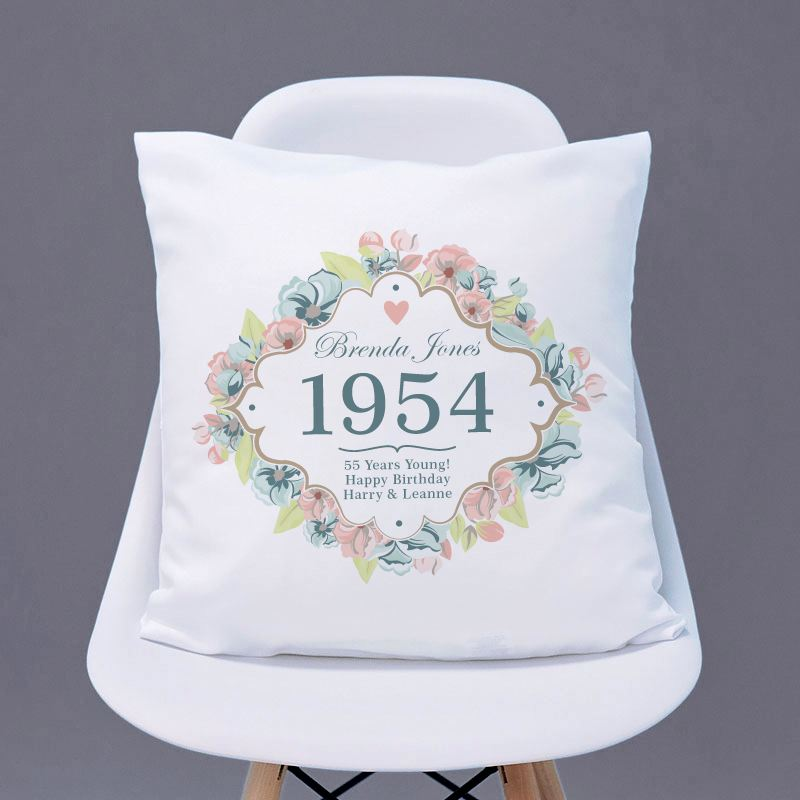 65th Birthday Personalised Cushion - Floral Design product image
