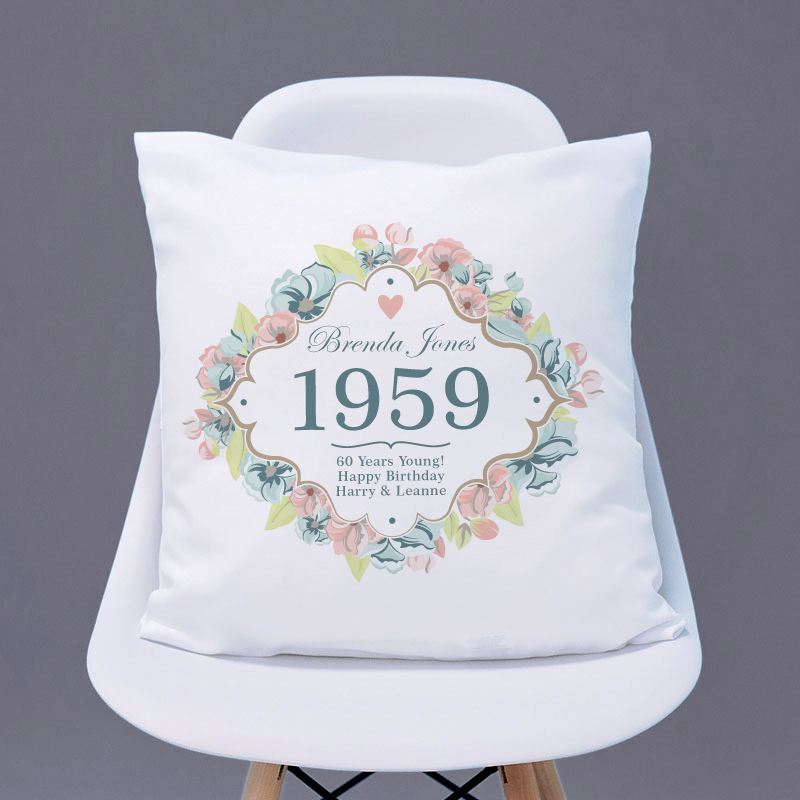 60th Birthday Personalised Cushion - Floral Design product image
