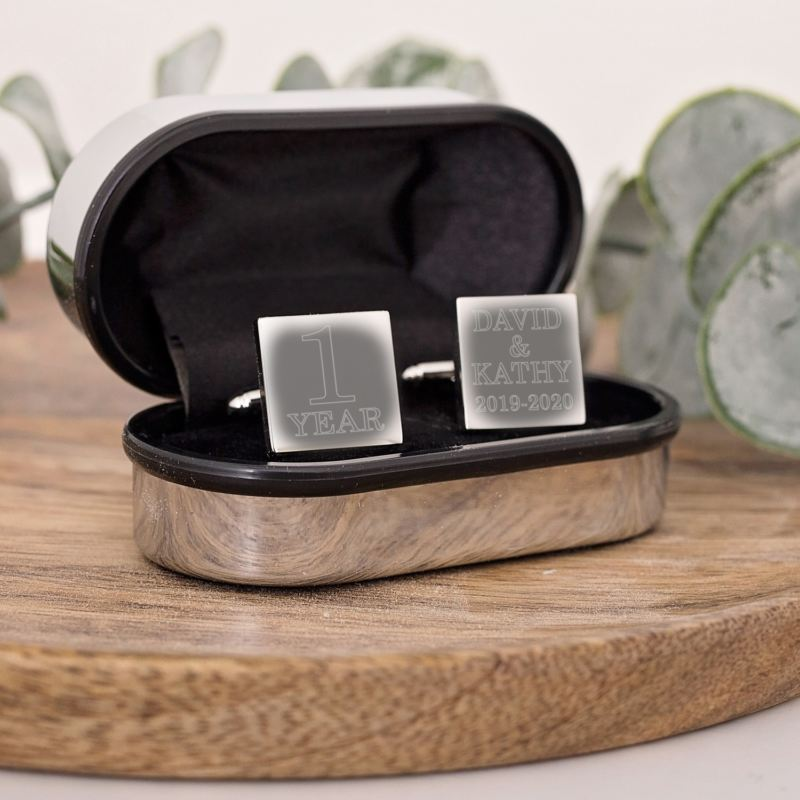 Personalised 1st Anniversary Silver Plated Cufflinks product image