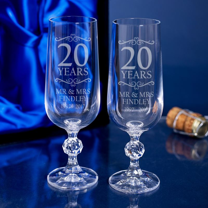 Engraved 20th Anniversary Champagne Flutes The