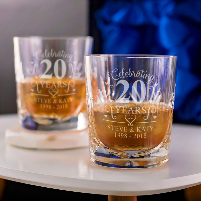 Personalised 20th Wedding Anniversary Whisky Glasses product image