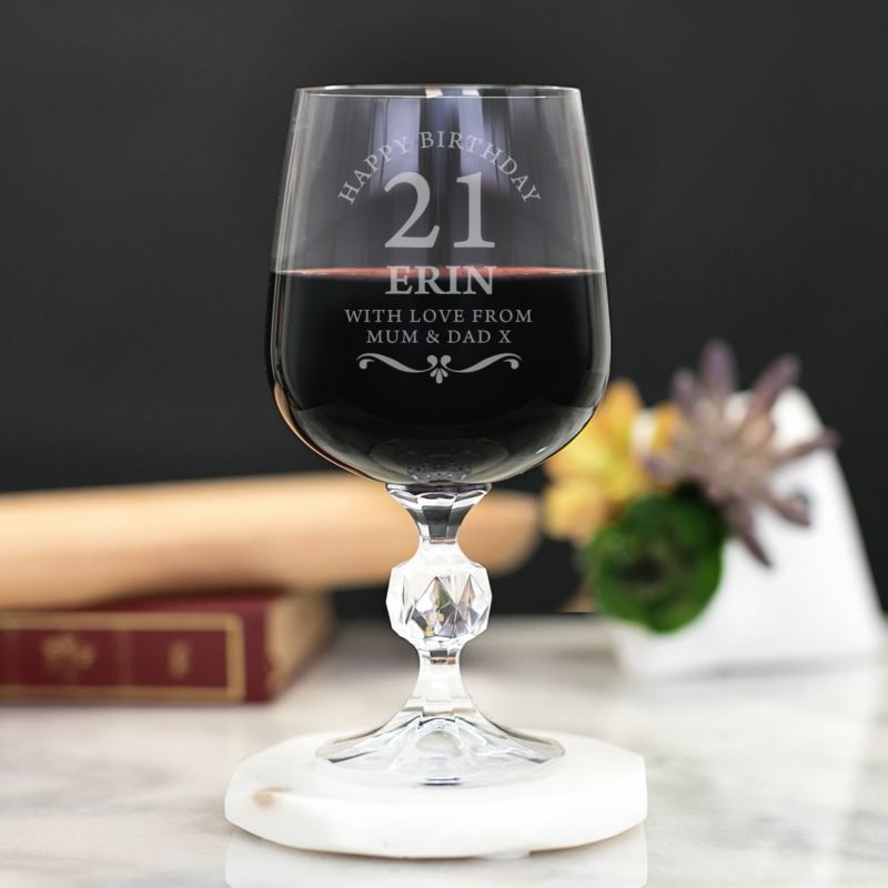 Personalised 21st Birthday Cut Stem Wine Glass product image