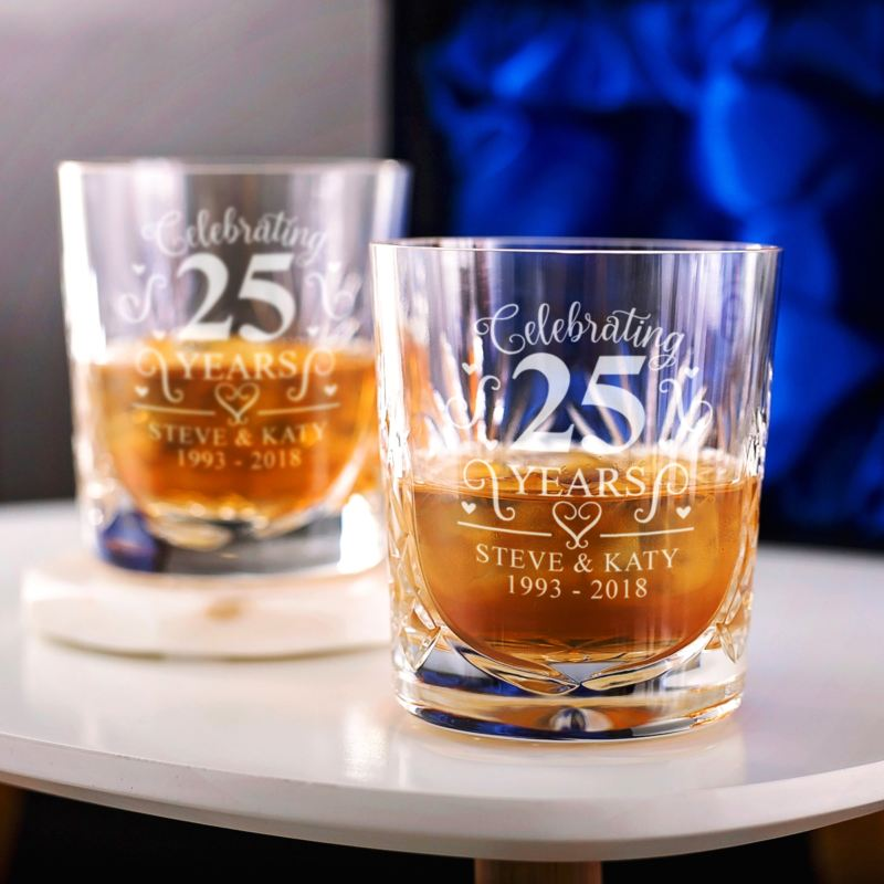 Personalised 25th Wedding Anniversary Whisky Glasses product image