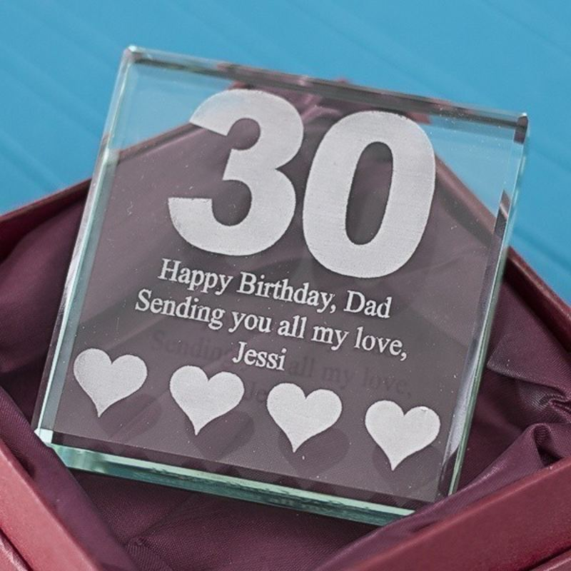 30th Birthday Square Glass Keepsake product image