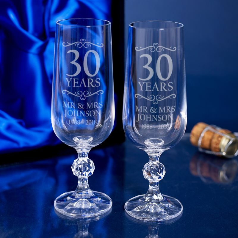 Engraved 30th Wedding Anniversary Champagne Flutes product image