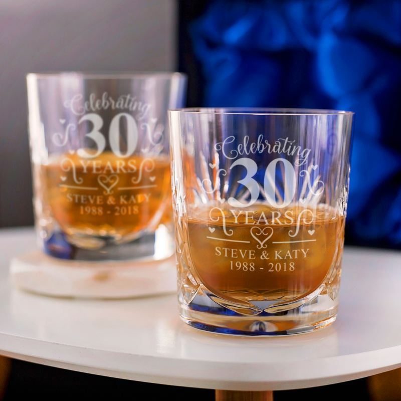 Personalised 30th Wedding Anniversary Whisky Glasses product image