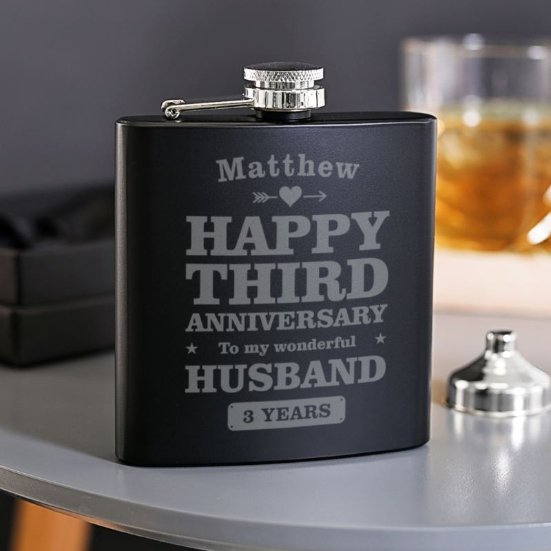 Personalised 3rd Anniversary Husband Black Hip Flask product image