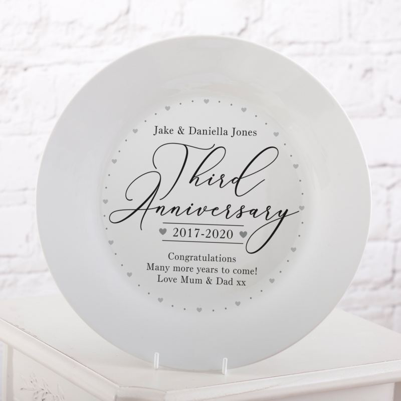 Personalised 3rd Wedding Anniversary Plate product image