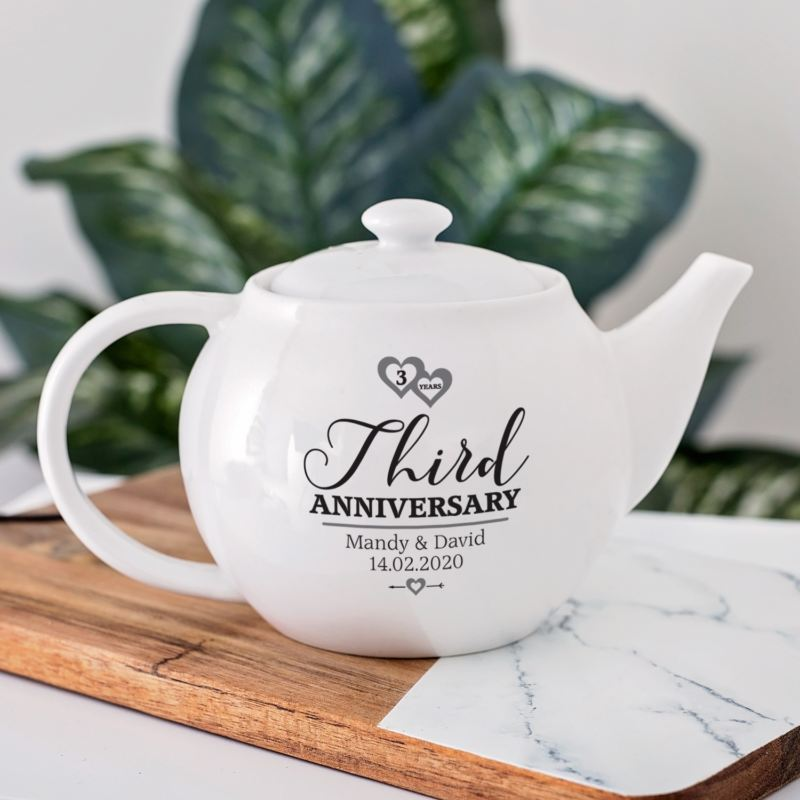 Personalised 3rd Wedding Anniversary Teapot product image