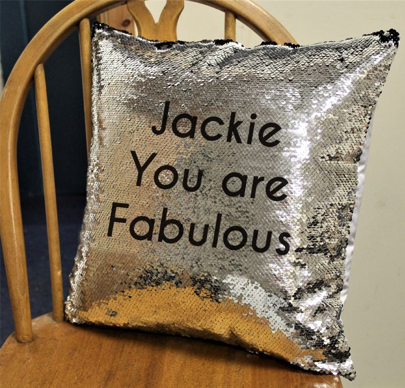 Secret Message Silver & Black Sequin Personalised Cushion Cover product image