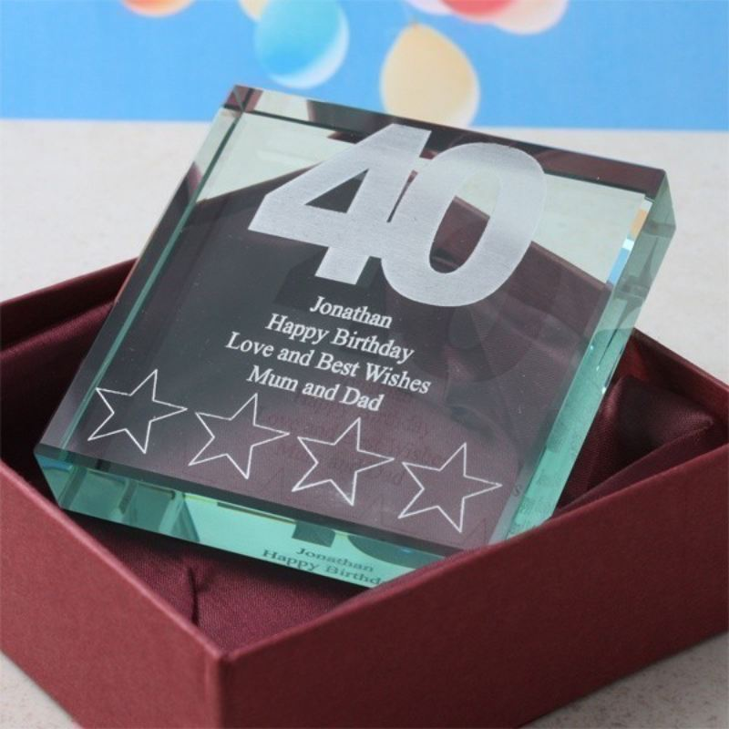 40th Birthday Square Glass Keepsake product image