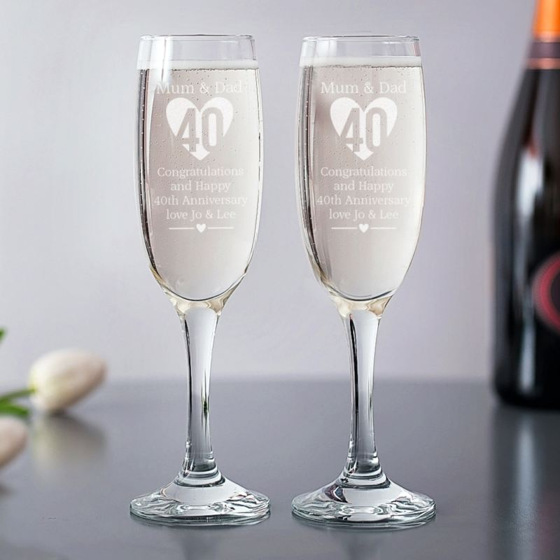 Personalised 40th Anniversary Champagne Flutes product image