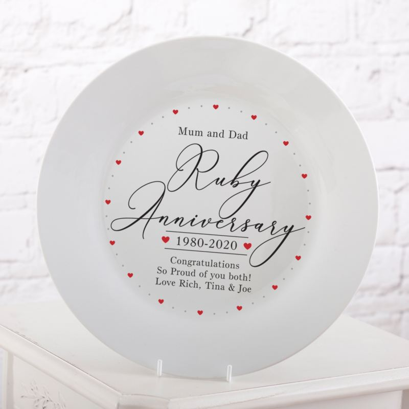 Personalised 40th Wedding Anniversary Plate product image