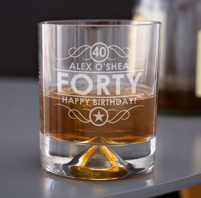 Engraved 40th Birthday Whisky Glass product image