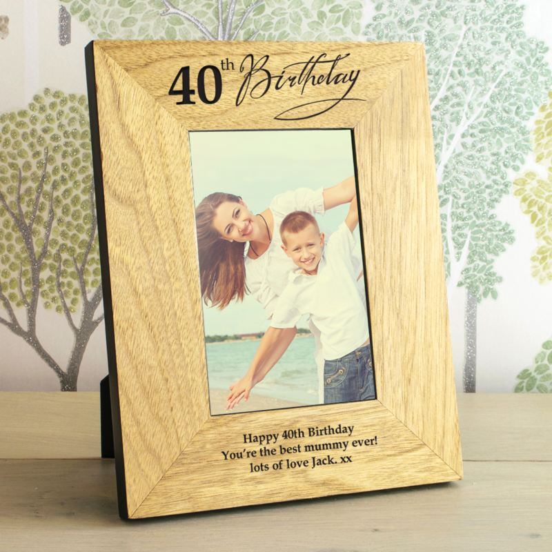 40th Birthday Wooden Personalised Photo Frame product image
