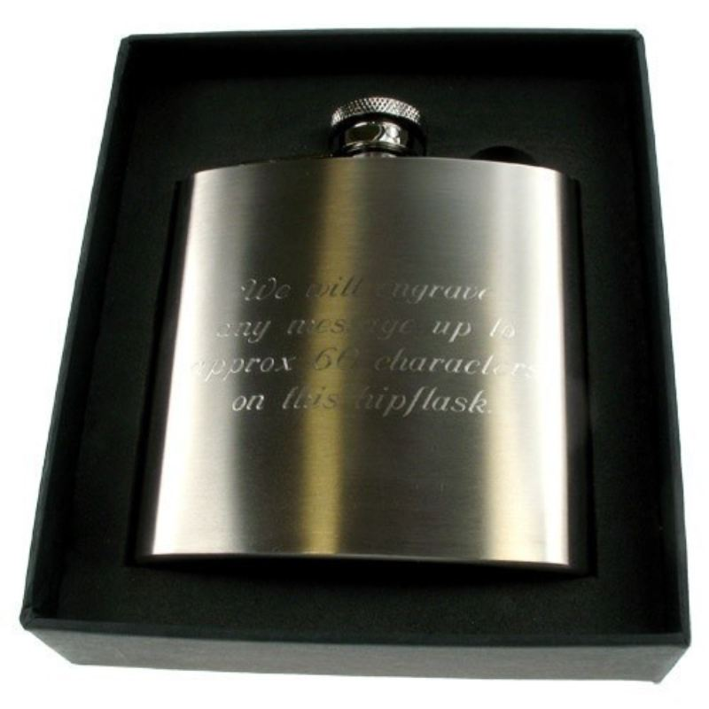 50th Birthday Engraved Brushed Steel Hip Flask product image