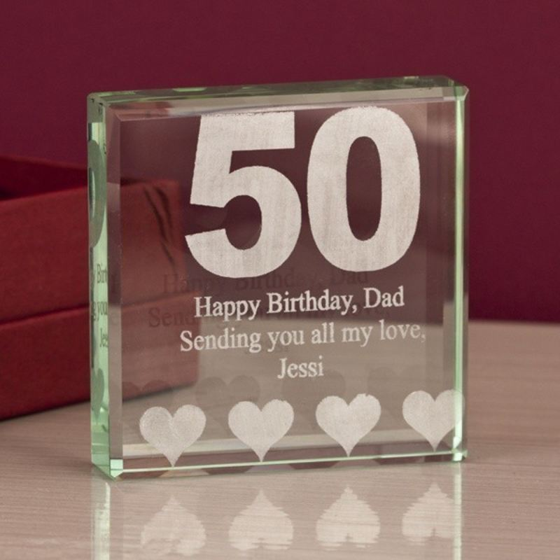 50th Birthday Square Glass Keepsake product image