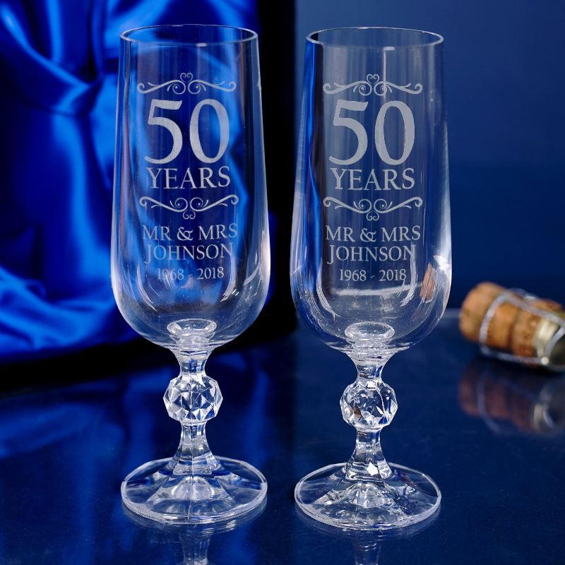 Pair Of Engraved 50th Anniversary Champagne Flutes product image