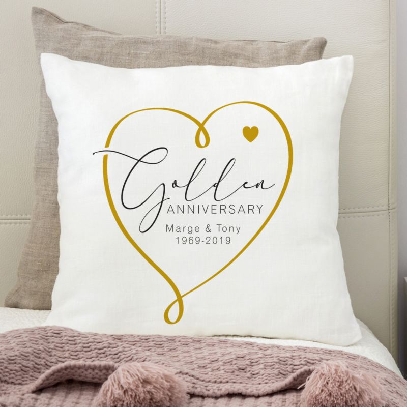 Personalised 50th Wedding Anniversary Cushion Heart Design product image