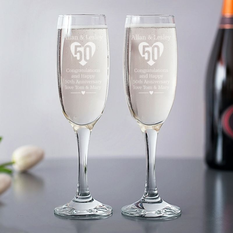Personalised 50th Anniversary Champagne Flutes product image