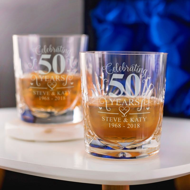 Personalised 50th Wedding Anniversary Whisky Glasses product image