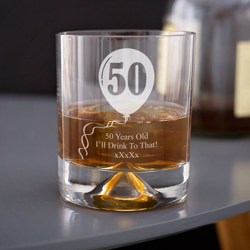 Personalised 50th Birthday Celebratory Whisky Glass product image