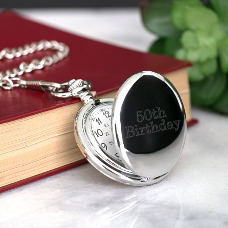 Engraved 50th Birthday Pocket Watch product image