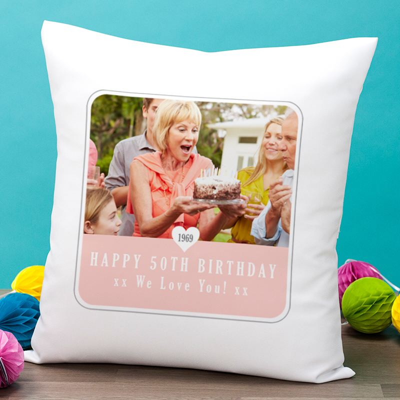 Personalised 50th Birthday Photo Cushion product image