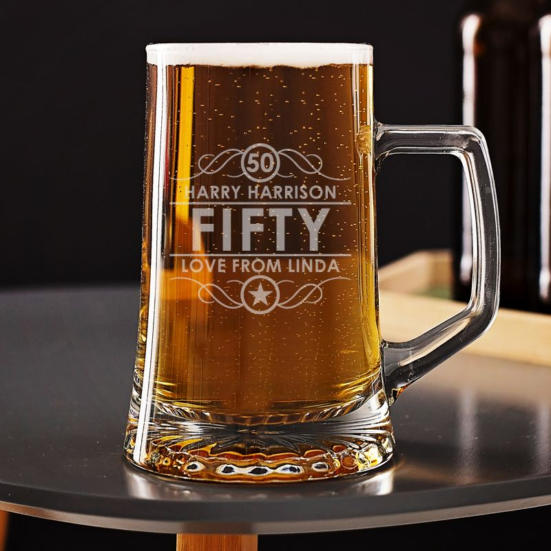 Engraved 50th Birthday Beer Tankard The Personalised