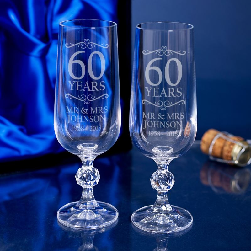 Engraved 60th Anniversary Champagne Flutes product image
