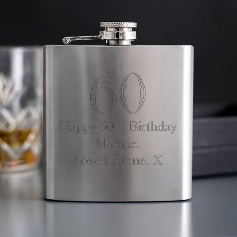 60th Birthday Engraved Brushed Steel Hip Flask product image