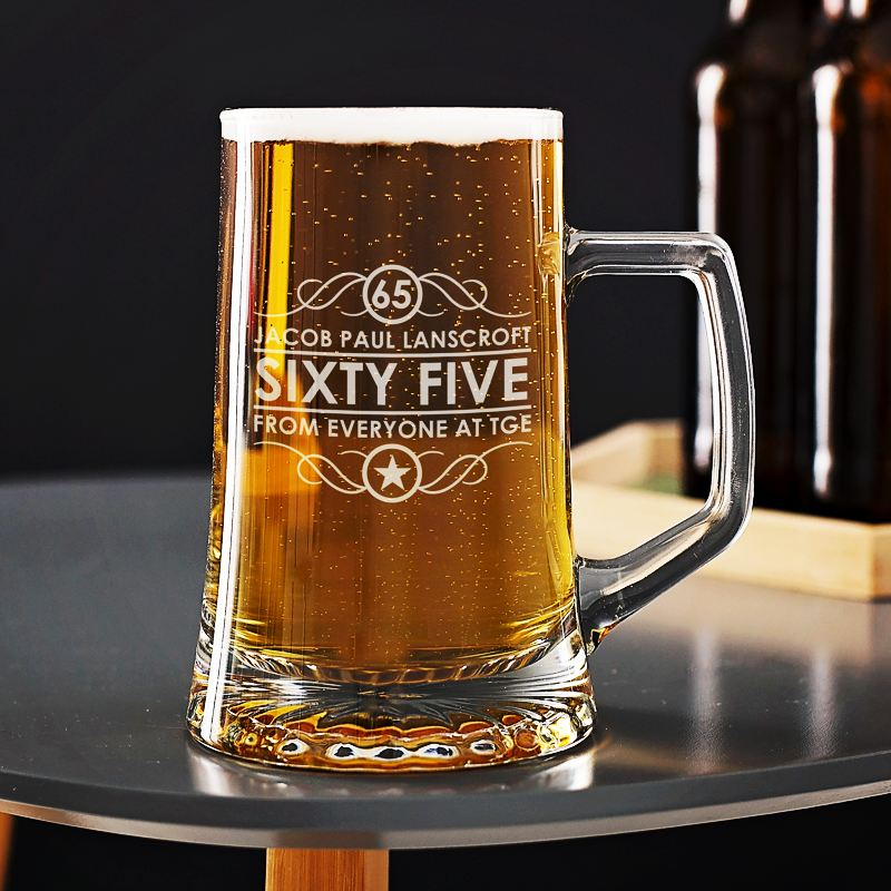 Engraved 65th Birthday Beer Glass Tankard product image
