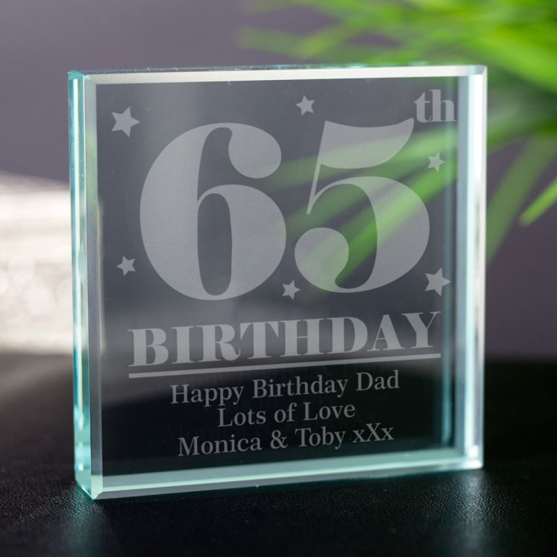 65th Birthday Square Glass Keepsake product image