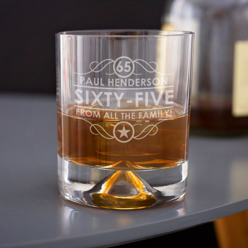 Engraved 65th Birthday Whisky Glass product image