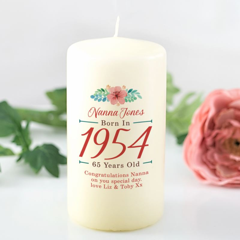 65th Birthday Personalised Candle - Floral Design product image