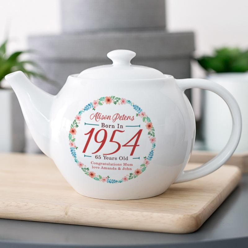 Personalised 65th Birthday Teapot - Floral Design product image