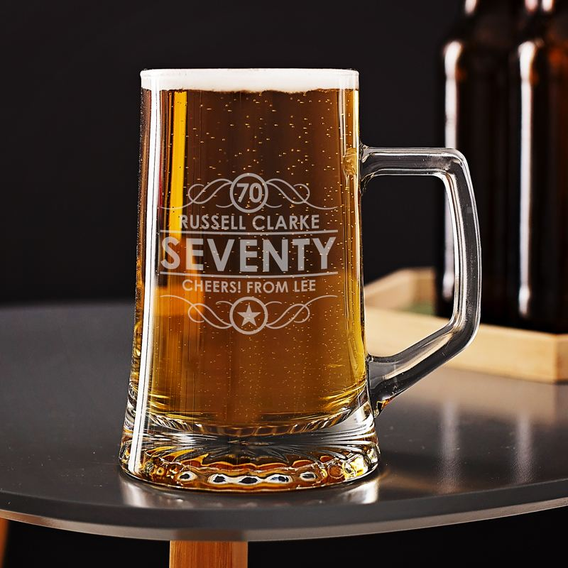 Engraved 70th Birthday Beer Tankard The Personalised