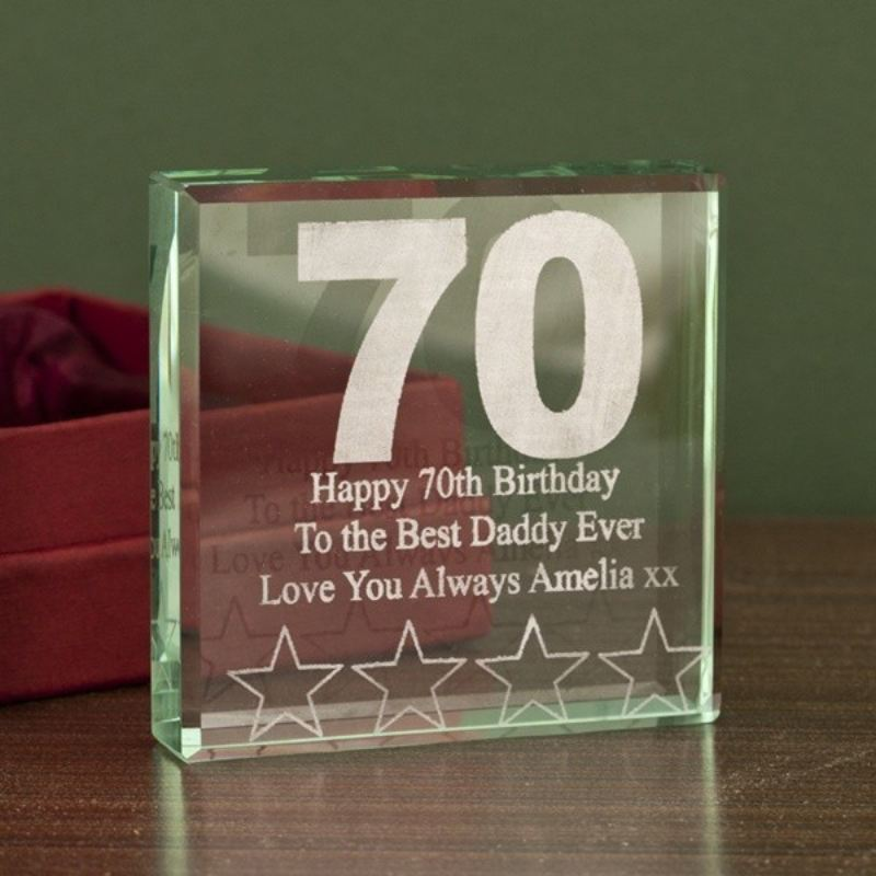 70th Birthday Square Glass Keepsake product image