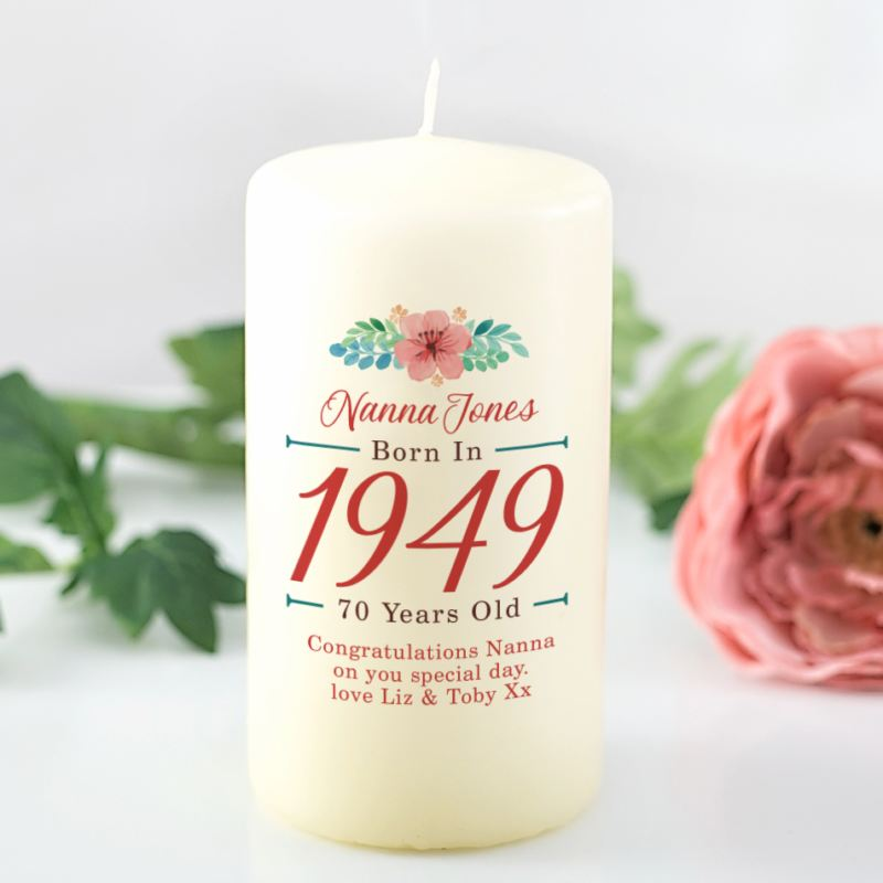 70th Birthday Personalised Candle - Floral Design product image