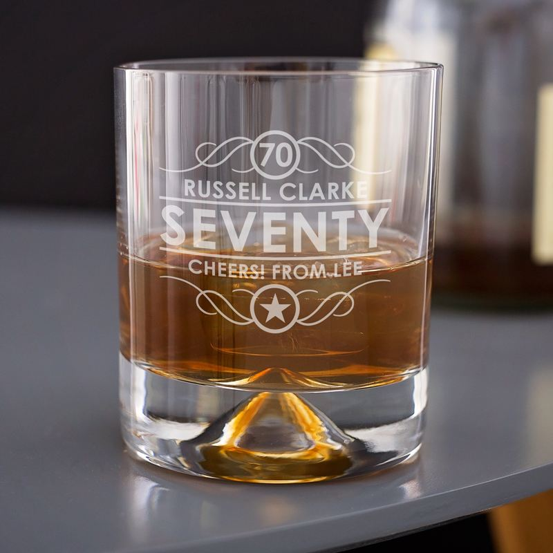 Engraved 70th Birthday Whisky Glass product image