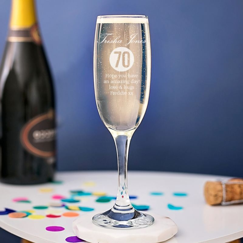 Personalised 70th Birthday Champagne Flute product image