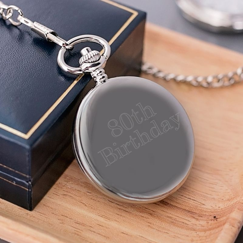 Engraved 80th Birthday Pocket Watch product image