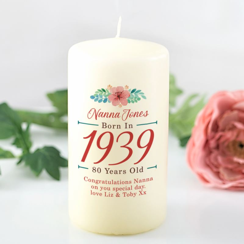 80th Birthday Personalised Candle - Floral Design product image